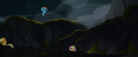 Rainbow Dash hovering over her friends MLPTM