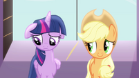 Sad Twilight beside Applejack S4E1
