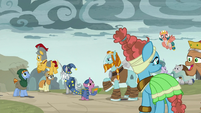 The Pillars of Old Equestria save the village S7E26