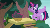 Twilight Sparkle making a basket of leaves S7E5