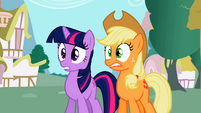 Twilight and Applejack in empty Ponyville S02E06