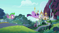 Twilight and Spike flying to Canterlot S9E4