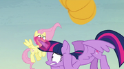 Twilight ducking under a flying pumpkin S5E23
