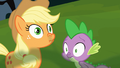 Applejack and Spike smell timberwolf breath S03E09.png