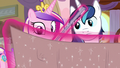 Cadance and Shining Armor look at the schedule S7E22.png