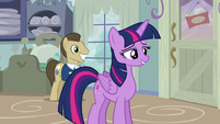 Davenport smiling behind Twilight S5E3