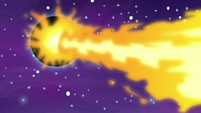 Daybreaker's fire breath strikes Nightmare Moon's barrier S7E10