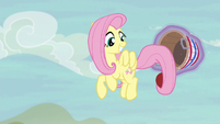 Fluttershy catches Applejack's shot again S6E18