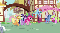 Mane Six walking into town S8E20