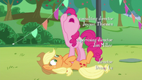 Pinkie's last --how--; Pinkie stands on Applejack S5E24