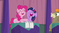 Pinkie and Twilight laughing together S9E16