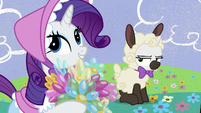 Rarity and Sweetie dressed as Little Bo Peep and sheep S7E6