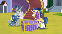 Shining Armor brings chest before Star Swirl S9E4