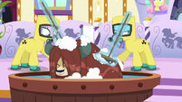Spa ponies in hazmat suits washing Yona S9E7
