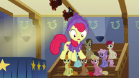 Apple Bloom dances over the edge of the stage S6E4