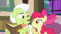 Apple Bloom holding back laugh S3E8