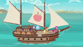 Applejack, Rarity, and Pinkie sailing on a boat S6E22.png