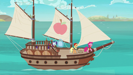 Applejack, Rarity, and Pinkie sailing on a boat S6E22