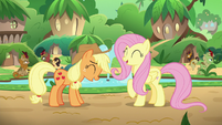 Applejack and Fluttershy laugh together S8E23