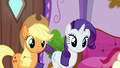 Applejack and Rarity arrive at the spa S6E10.png