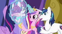Cadance and Shining Amor reunite with Flurry Heart S7E3