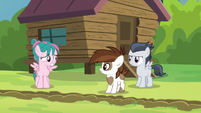 Camper filly grinning nervously at Rumble S7E21