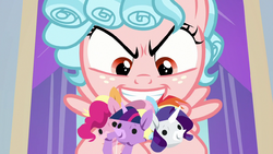 Cozy Glow holding Mane Six puppets S8E26