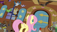 Fluttershy approaching door S4E1