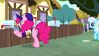 Pinkie Pie dressed as a mailpony S4E12