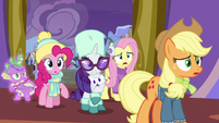 Ponies and Spike curious about commotion MLPBGE