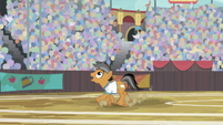 Quibble positions himself under the ball S9E6