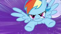 Rainbow Dash rushes at cloud S4E01