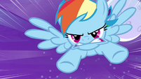 Rainbow Dash rushes at cloud S4E01
