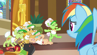 Rainbow Dash watches the grannies stretch S8E5