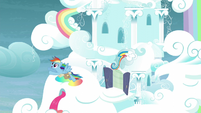 Rainbow flying out of her house S5E3