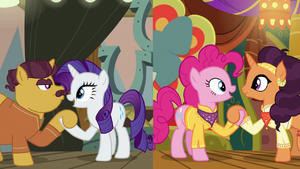 Rarity and Pinkie take their partners' hooves S6E12