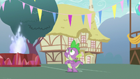 Spike waiting for Princess Ember to arrive S7E15