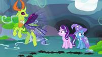 Starlight, Trixie, and Thorax hear Pharynx cause a ruckus S7E17