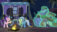 Starlight dumps Trixie's stuff out the wagon S8E19