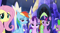 Twilight and friends looking at Rarity weird S6E12