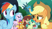 Applejack asks Rainbow where to go S8E9