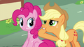 Applejack whistles to Fluttershy and Rainbow S6E11.png