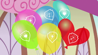 Balloons with Cutie Mark Crusaders' cutie marks S7E21