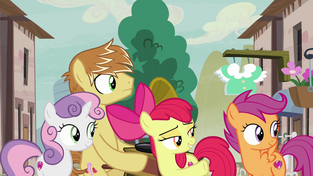 File:CMCs and Feather Bangs look at Big Mac and Sugar Belle S7E8.png