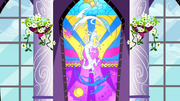 Celestia and Luna depicted on stain glass defeating Discord S02E01