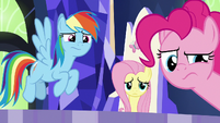 Dash, Fluttershy, and Pinkie skeptical S8E24