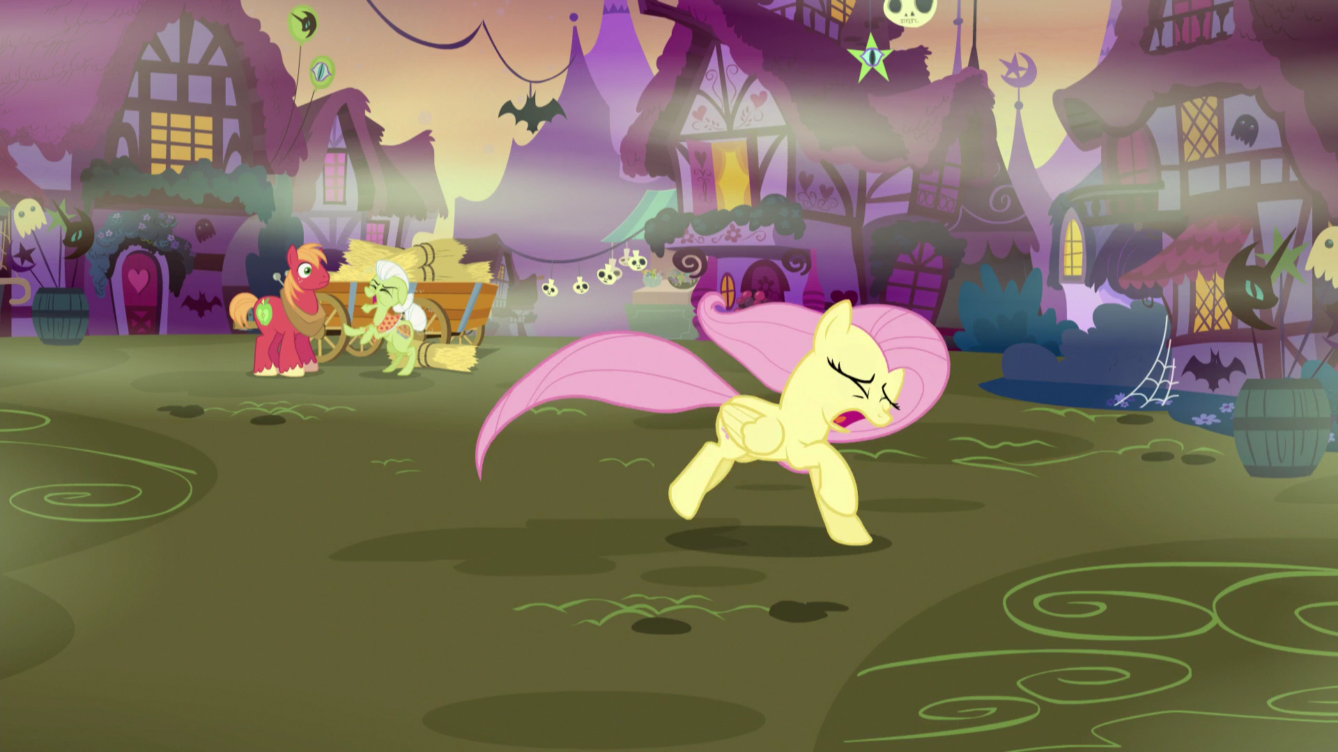 image fluttershy running away from granny and big mac s5e21 png