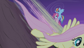 Fluttershy speeds down while Rainbow catches Pinkie S1E02.png
