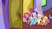 Mane Six returning inside the castle S7E14