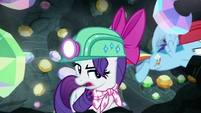 Rainbow Dash zips past Rarity's back S8E17
